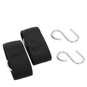 AT6749 2PCS/Set Outdoor Hammock Binding Rope Nylon Strap with Metal S-Shaped Hook for Travel
