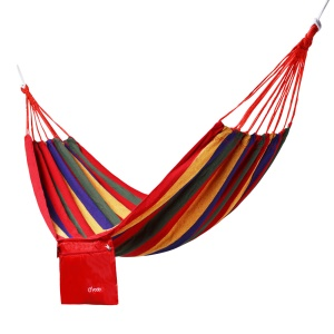 YODO Outdoor Leisure Cotton Canvas Stripes Hammock Single Bed, Size: 190 x 80cm - Red