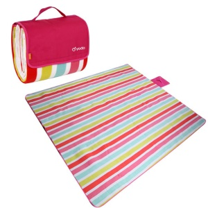 YODO Moisture-proof Mat Pad Water-Resistant Picnic Blanket Tote (200 x 200cm) - Colorful Stripes