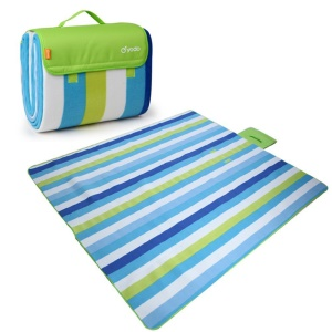 YODO Moisture-proof Mat Pad Water-Resistant Picnic Blanket Tote with Handle (200 x 200cm) - Green / Blue Stripes