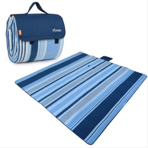 YODO Thickened Picnic Blanket Tote Moisture-proof Mat Pad (200 x 200cm) - Cyan / Blue Stripes