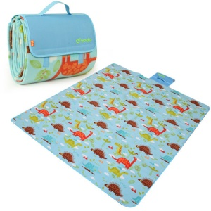 YODO Folding Moisture-proof Mat Pad Water-Resistant Picnic Blanket Tote (200 x 200cm) - Dinosaur Pattern