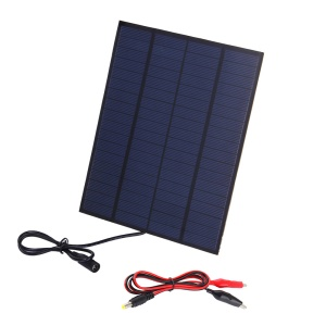 SUNWALK 5.5W 18V Polycrystalline Silicon Solar Panel with 2.1mm x 5.5mm DC Plug and Battery Clamp Interface, 210 x 165 x 4mm