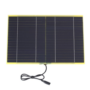 SUNWALK 10W 18V Polycrystalline Silicon Solar Panel with 2.1mm x 5.5mm DC Plug and Battery Clamp Interface, 318 x 210 x 5mm