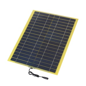 SUNWALK 20W 18V Polycrystalline Silicon Solar Panel with 2.1mm x 5.5mm DC Plug and Battery Clamp Interface, 450 x 350 x 5mm
