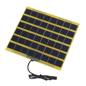 SUNWALK 5W 12V Polycrystalline Silicon Solar Panel with 2.1mm x 5.5mm DC Plug and DC Cable, 210 x 200 x 5mm