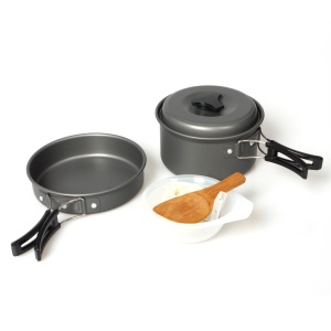 Outdoor Camping Hiking Picnic Cookware with Pot + Pan + Bowl Etc. Cooking Set for 1-2 Persons