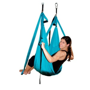 Yoga Hammock Sling Anti-gravity Aerial Yoga Swing Trapeze Body Building Tool - Baby Blue