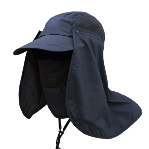 AOTU AT8712 Breathable 360° Protection Sun Cap Outdoor Wide Brim Face Neck Cover Flap Sun Hat - Dark Blue