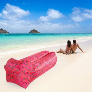 Beach Camping Rest Inflatable Air Sofa Couch Lazy Bag Square Side - Red