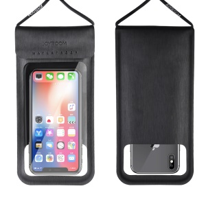 JOYROOM CY701 TPU + PU Leather Waterproof Smartphone Bag Universal Phone Pouch Bag with Lanyard for iPhone Samsung Huawei etc. - Black