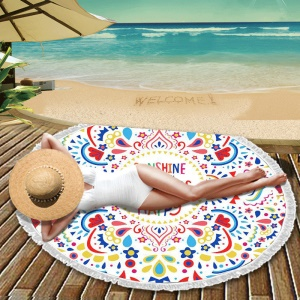 Printed Microfiber Round Beach Towel Tapestry Portable Tassel Blanket - English Letters and Mandala Flower