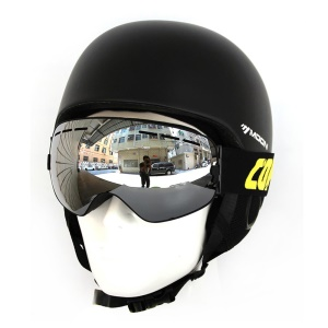 COPOZZ Dual Layer Spherical Wide View Snow Skating Glasses Replaceable Lens GOG201+CASE200 - Silver