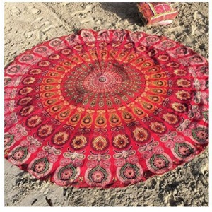 150cm Polyester Mandala Round Beach Throw Towel Shawl Tablecloth - Style A