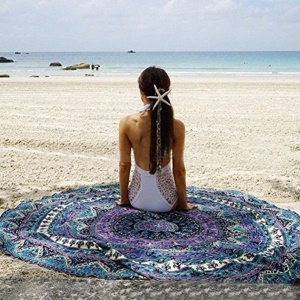 Polyester Beach Throw Towel Mandala Roundie Shawl Tapestry 150cm - Style I