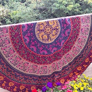 Polyester Round Mandala Beach Towel 150cm Scarf Shawl Tapestry - Style L