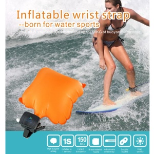 Portable Rescue Inflatable Wrist Strap Water Buoyancy Device - Orange / Black