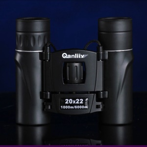 QANLIIY 20X22 Mini HD Binoculars Portable BAK-4 Prism Telescope Spotting Scope - Black