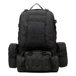 Outdoor Military Tactical Travelling Hiking Camping Backpack with 3 Molle Bags - Black