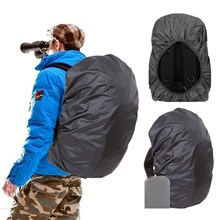 Ultra Light 210D Nylon Outdoor Backpack Waterproof Cover - Black / Size: L (for 45-60L Backpack)