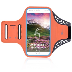 BDD-061Z Fingerprint to Unlock Swipe Screen Sports Armband Case for iPhone 8/7 6s 6 4.7 inch - Orange
