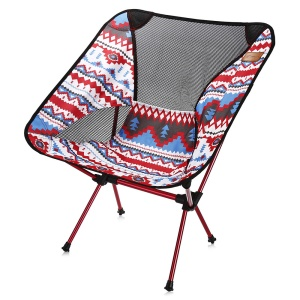 Lightweight Aluminium Alloy Portable Camping Loading Folding Chair - Red