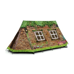 Outdoor Portable Sports Mountain Ultra Tent for Climbing - Brick House with Green Plant On It