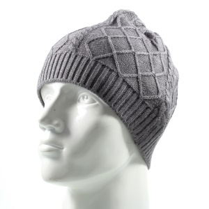 Trendy Twill Grain Unisex Outdoors Warm Knitted Earflap Hat para Outono Winter Use - cinza