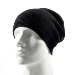 Neutral Style Knitted Beanie Cap Fashionable Winter Warm Outdoor Hat for Adults - Black