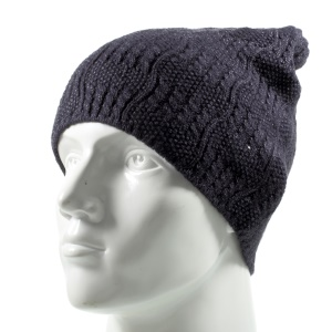 Unisex Braided Pattern Warm Knitted Winter Autumn Use Hat Soft Hat - Black