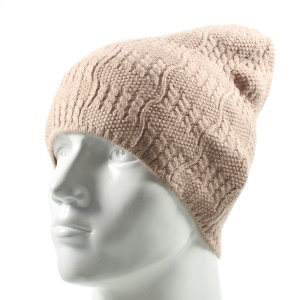 Unisex Outdoors Warm Knitted Winter Autumn Hat Scarf Soft Earflap Hat - Light Brown