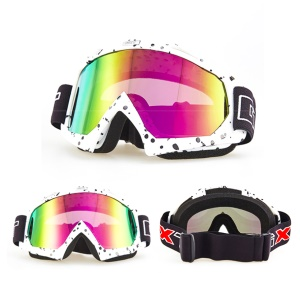 Lente de color PU Frame Sports Glasses A prueba de viento Snow Skating Riding Eye Protector - Blanco / Puntos negros