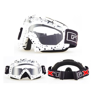 Transparent Lens PU Frame Outdoor Wind-proof Snow Skiing Riding Goggles - White / Black Dots