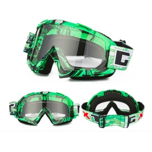 Transparent Lens PU Frame Outdoor Wind-proof Snow Skiing Cycling Goggles - Black / Green