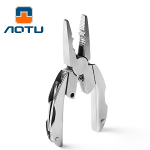AOTU AT7570 Mini Multi-function Tortoise Pliers Stainless Steel Screwdriver Knife Rasp Tool