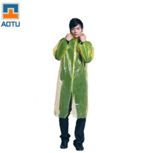 AOTU AT9027 Disposable Raincoat Rain Poncho with Hood and Sleeves - Yellow