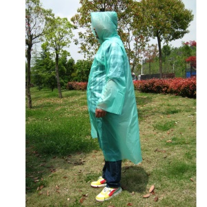 AOTU AT9027 Portable Disposable Raincoat Rain Poncho with Hood and Sleeves - Green