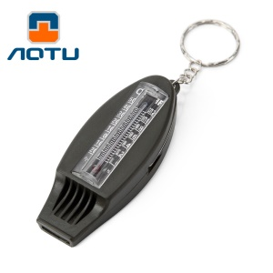 AOTU AT7595 4 in 1 ABS Multi-functional Outdoor Survival Whistle Compass Thermometer Magnifier - Army Green