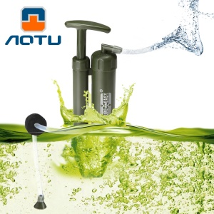 AOTU PF111 Portable Army Soldier Water Filter Purifier for Hiking Camping Survival Emergency