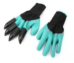 1 Pair of Garden Puncture Resistant Working Gloves with 4 ABS Claws for Digging Planting Composting etc