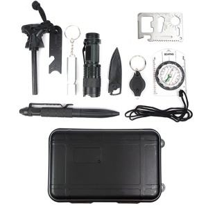 AOTU 10 in 1 Outdoor Emergency Survival Kit Compass Knife Fire Starter Whistle Flashlight and More