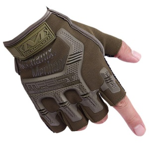 CTSMART Pair of Anti-slip Outdoor Cycling Mountain Climbing Half-finger Sports Gloves - Green