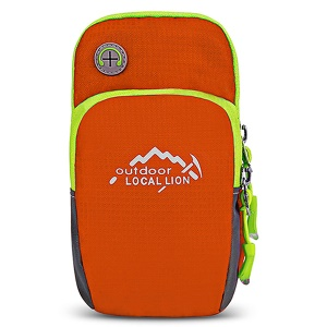 LOCAL LION Polyester Zipper Armband Case for iPhone X/Samsung S8 Etc. Size: 17x10x2cm - Orange
