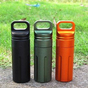AOTU Waterproof Aluminum Alloy EDC Survival Pill Box Case Medicine Bottle Holder Container - Random Color