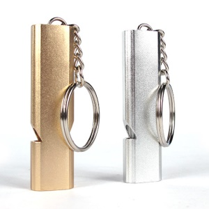 2Pcs/Set AOTU Outdoor Camping Hiking Tool Aluminum Alloy Emergency Survival Whistle Key Chain - Random Color