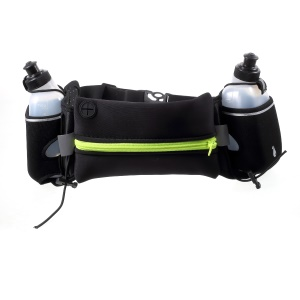 Multi-function Waist Bag Sport Zipped Pouch with Earphone Hole and Two Water Bottles - Green