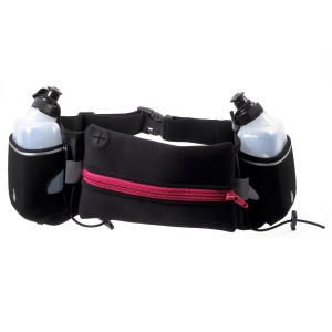 Outdoor Running Zipped Earphone Hole Sports Waist Pouch with Two Water Bottles - Rose