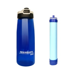 Water Filter Bottle 2-Stage Integrated Personal Filter Straw for Hiking Camping and Travel