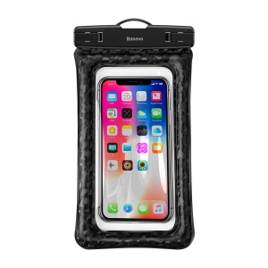Baseus IPX8 Cushion Waterproof Fingerprint Identification Bag with Strap for iPhone Samsung Huawei etc.- Black