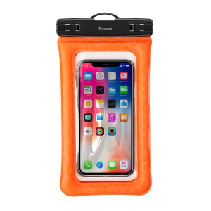 Baseus Cushion Waterproof Smartphone Bag Universal Phone Pouch Bag with Neck Strap for iPhone Samsung Huawei etc. - Orange
